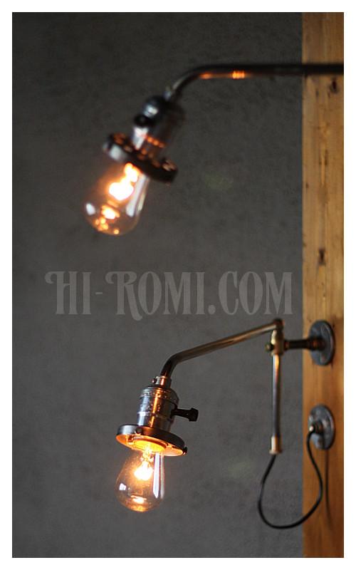 ヴィンテージスウィングアームアルミソケット&ギャラリー付ブラケットA/アンティーク照明コンビカラー工業系ランプ