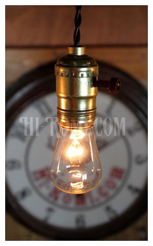 USAサークルFヴィンテージターン式アルミ製Goldソケットペンダントライト(1)/アンティーク照明ランプ工業系