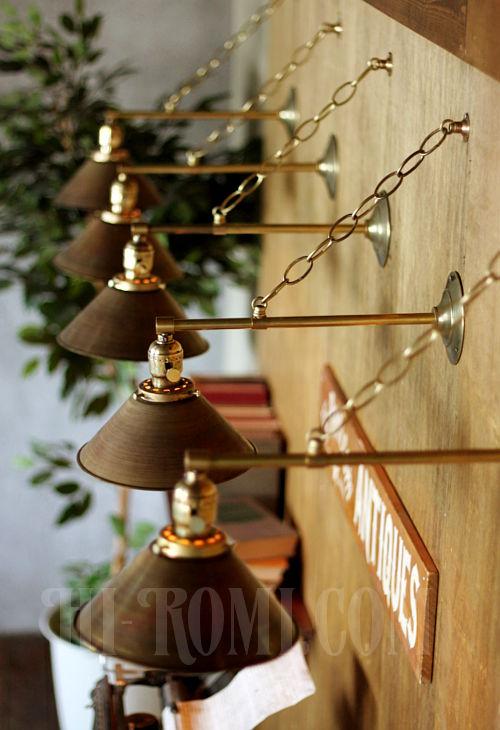 工業系ヴィンテージシェード&チェーン付真鍮製ブラケットC/アンティークインダストリアル鎖付壁掛照明ライトランプ
