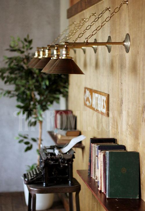 工業系ヴィンテージシェード&チェーン付真鍮製ブラケットE/アンティークインダストリアル鎖付壁掛照明ライトランプ