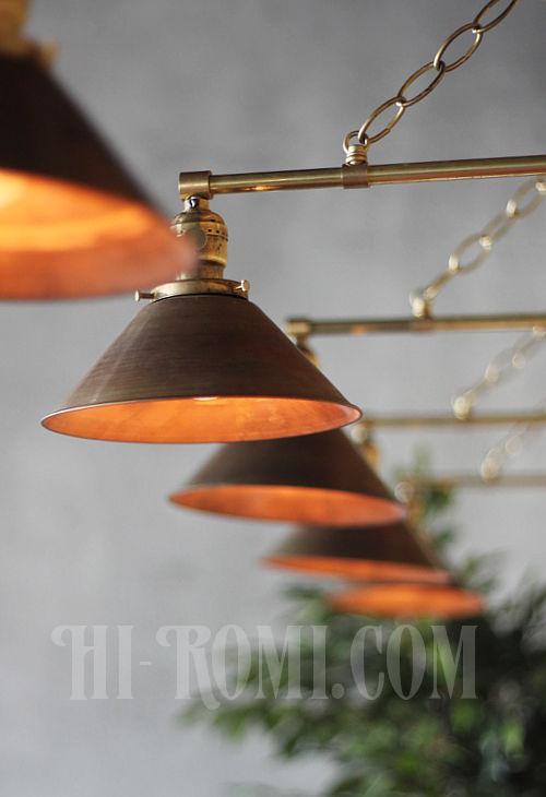 工業系ヴィンテージシェード&チェーン付真鍮製ブラケットB/アンティークインダストリアル鎖付壁掛照明ライトランプ