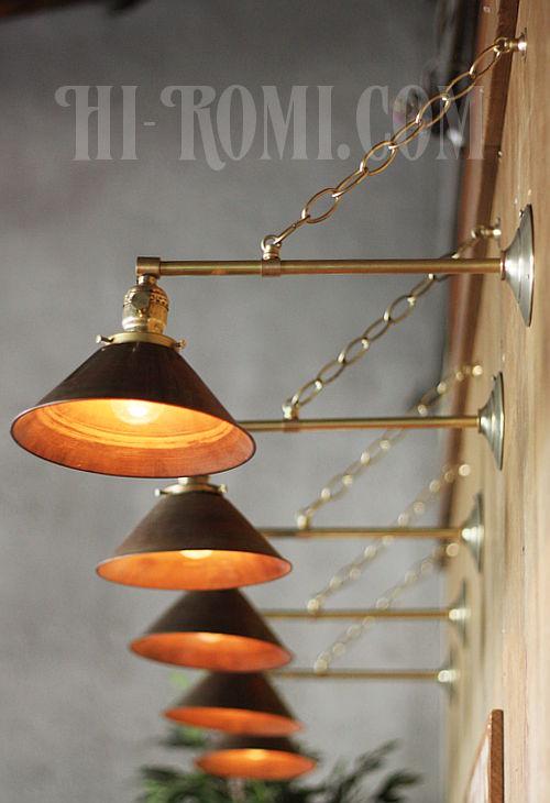 工業系ヴィンテージシェード&チェーン付真鍮製ブラケットD/アンティークインダストリアル鎖付壁掛照明ライトランプ