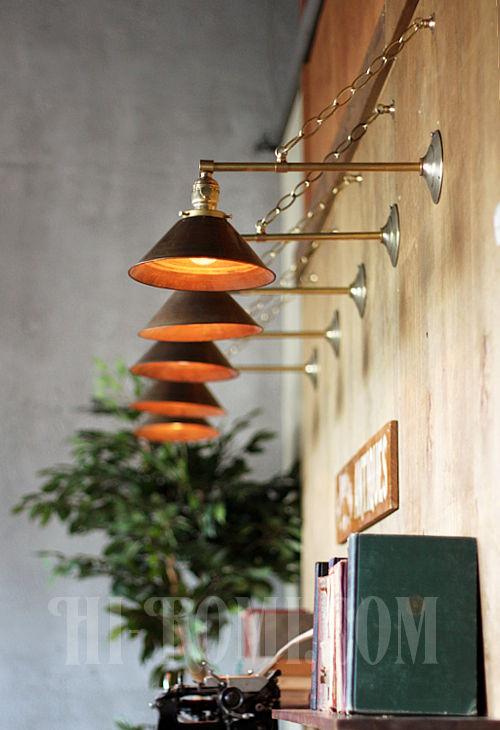 工業系ヴィンテージシェード&チェーン付真鍮製ブラケット/アンティークインダストリアル鎖付壁掛照明ライトランプ