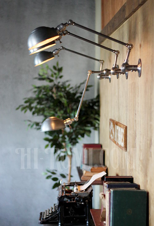 工業系ヴィンテージ角度調整付アルミ&スチール製ブラケットA/アンティークインダストリアル真鍮クロム壁掛ライト照明ウォールランプ