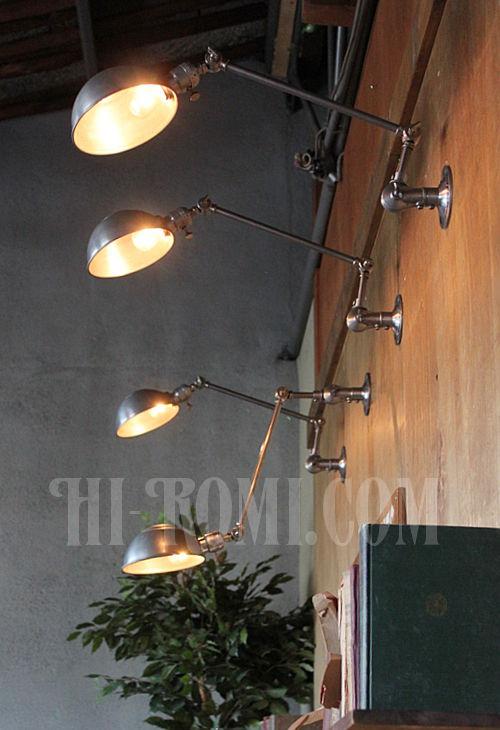 工業系ヴィンテージ角度調整付アルミ&スチール製ブラケットB/アンティークインダストリアル真鍮クロム壁掛ライト照明ウォールランプ