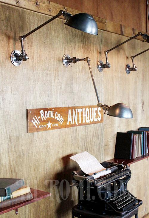 工業系ヴィンテージ角度調整付アルミ&スチール製ブラケットD/アンティークインダストリアル真鍮クロム壁掛ライト照明ウォールランプ