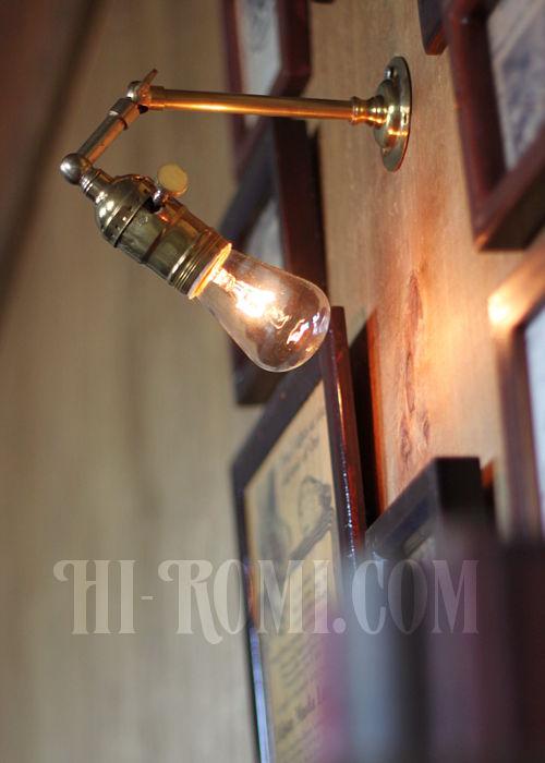 工業系ミニ角度調整付き真鍮ブラケット インダストリアルウォールランプ/壁掛け照明