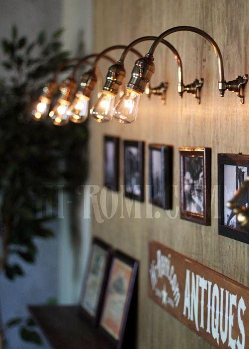 工業系ホブネイル鍵付き湾曲アーム真鍮ブラケットA インダストリアルウォールランプ/壁掛け照明