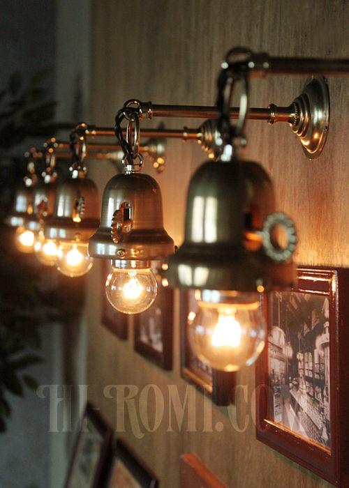 工業系鍵&チェーン付ベル型シェードホルダー真鍮ブラケットA ヴィクトリアンウォールランプ/壁掛け照明/インダストリアル
