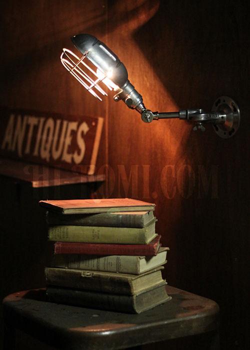 工業系ワイヤーケージ&角度調整付きブラケット/インダストリアルウォールランプ/壁掛け照明