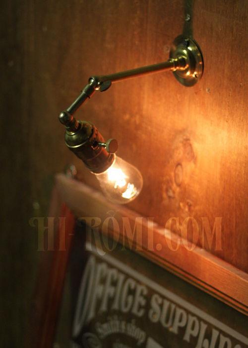 工業系ミニ角度調整付き真鍮ブラケットインダストリアルウォールランプ/壁掛け照明