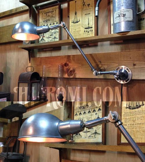 工業系ヴィンテージ角度調整付アルミ&スチール製ブラケットC/アンティークインダストリアル真鍮クロム壁掛ライト照明ウォールランプ