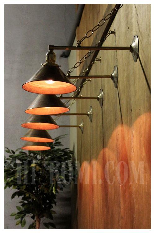工業系真鍮製傘&鎖付壁掛け照明/インダストリアルブラスシェード&チェーン付ウォールランプ/ブラケット/店舗設計新築リノベーション建築デザイン輸入製造販売