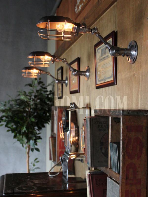 工業系ワイヤーケージ&角度調整付きブラケットA/インダストリアルトラブルライトウォールランプ/壁掛け照明
