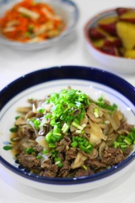 レンジで作る牛肉と舞茸のポン酢煮