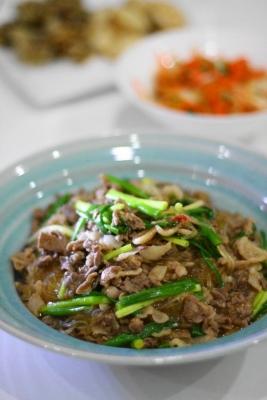 牛肉と春雨のピリ辛炒め煮1