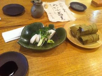 板わさと柿の葉寿司