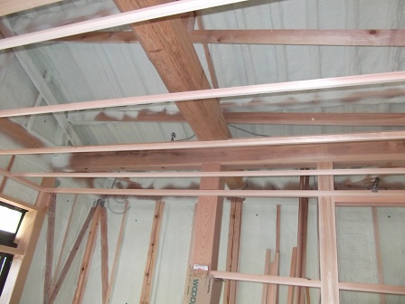 上岡床柱と天井下地