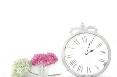 まくりんさん 時計とお花
