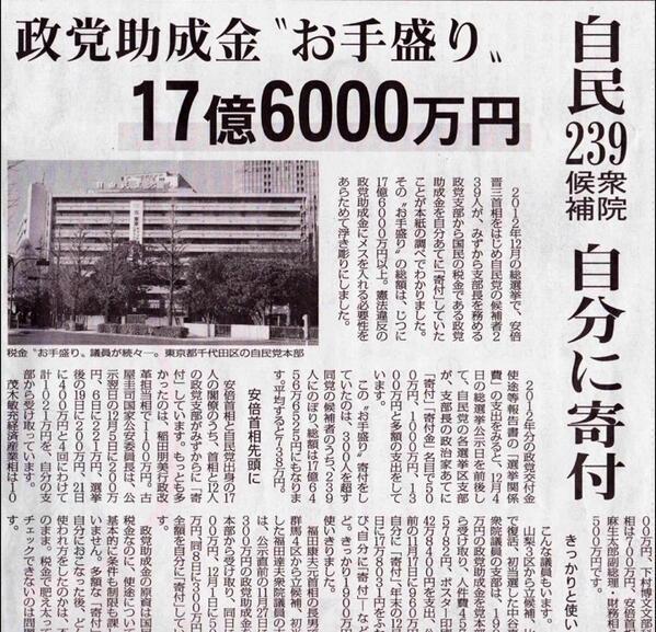 安倍晋三首相はじめ、12名の閣僚、そして239議員が政党支部から、国民の税金である政党助成金を自分宛に寄付していたことが明らかに