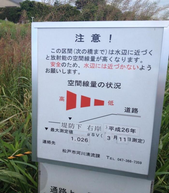 松戸市 放射能危険看板