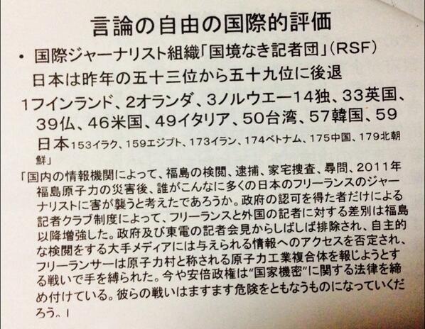 国境なき記者団の世界報道自由ランキング、日本59位転落。