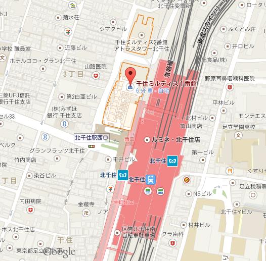 バンコクキッチン 千住ミルディス店 地図