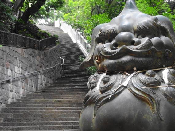 愛宕神社 狛犬と階段
