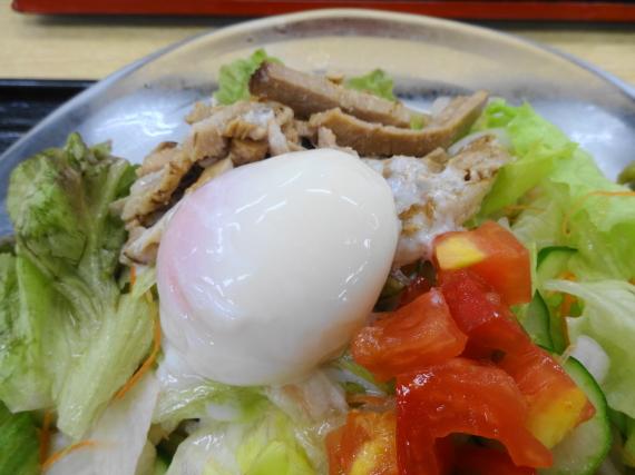サラダうどん 温泉卵