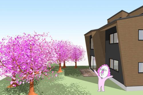 建築パースの中で仮想お花見