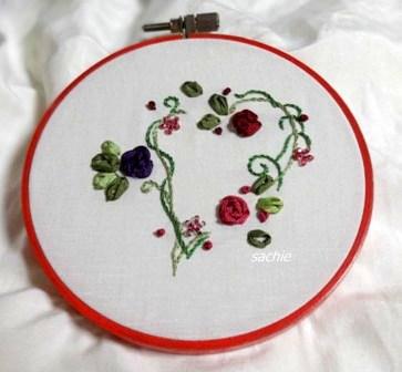 初のリボン刺繍