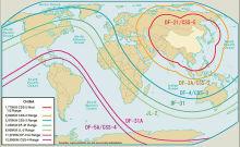 中国軍の戦略ミサイルの射程範囲wikipedia