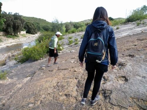 恐竜の足跡を歩く