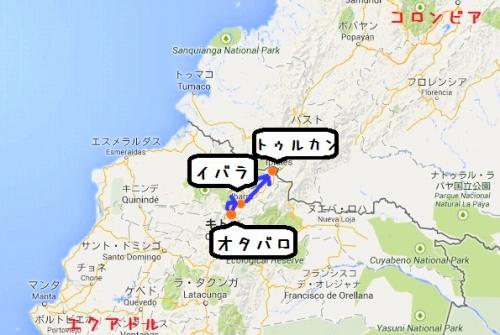 コロンビア国境までの地図