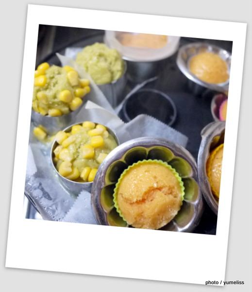 冷凍スムージーSaiby(サイビー)を使ったカラフル蒸しケーキ