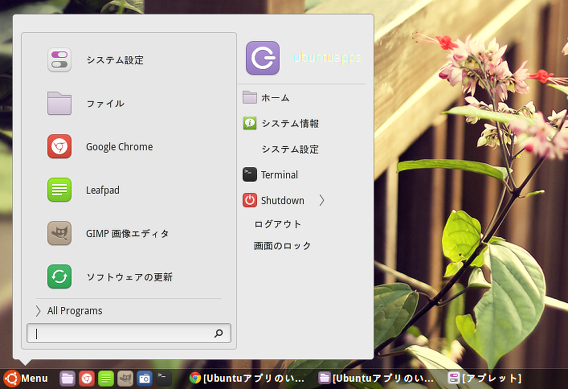 Cinnamon 2.2 StarkMenu Windows 7 メニュー
