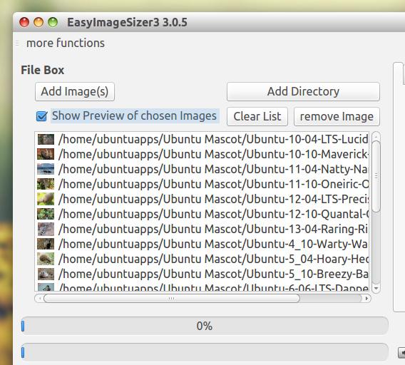 EasyImageSizer Ubuntu 画像編集 画像変換 フォルダの画像を追加