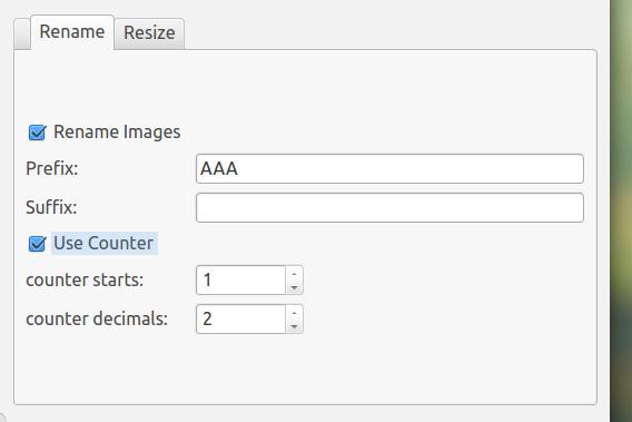 EasyImageSizer Ubuntu リネームの設定