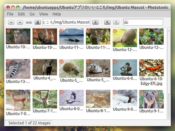Phototonic Ubuntu 画像ビューア サムネイル Classic View