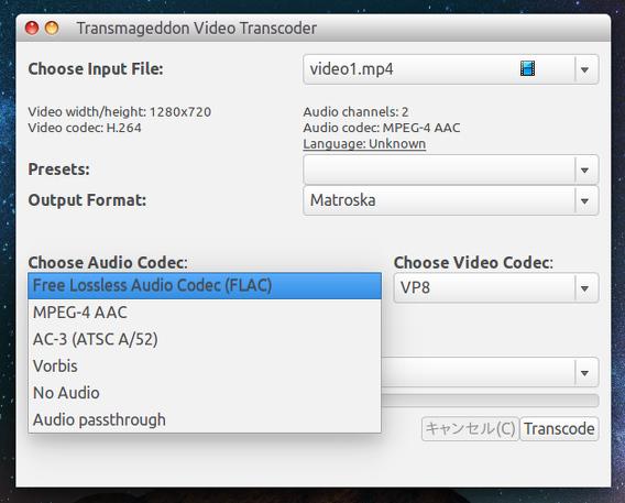 Transmageddon 1.0 Ubuntu 動画変換