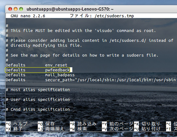 Ubuntu 端末 パスワード入力 アスタリスクの表示 sudoersファイルの編集