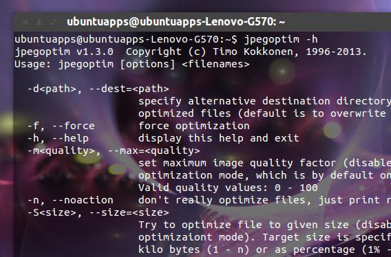 jpegoptim Ubuntu コマンド jpeg 圧縮