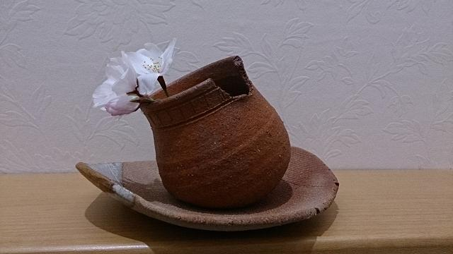 トイレでお花見してました(^.^) 花器は陶芸教室の先生作