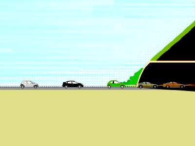 トンネルの入り口で渋滞