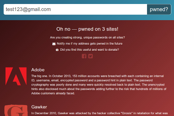 Have I been pwned? メールアドレス 情報漏洩 チェック 該当あり