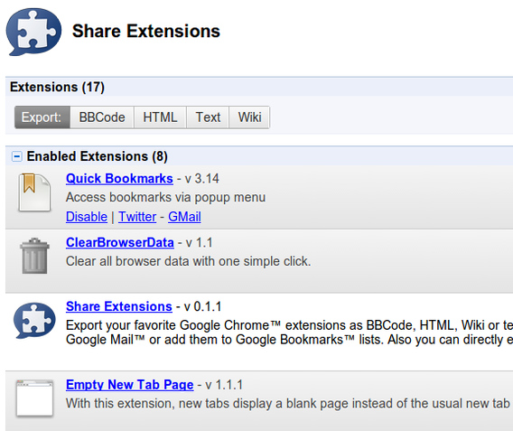 Share Extensions Chrome拡張 エクスポートする拡張機能の選択