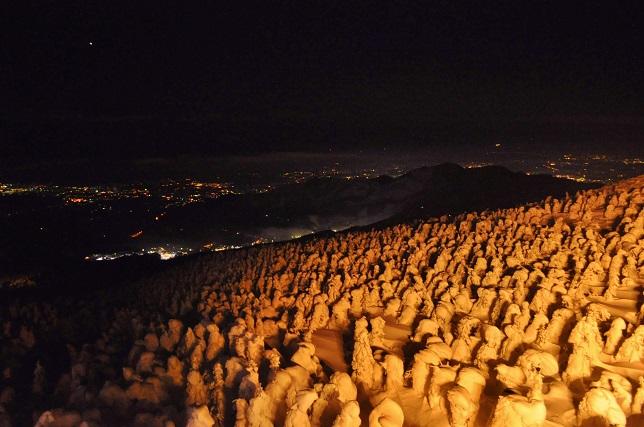樹氷原越しの夜景
