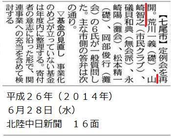 平成26年6月18日(水)北陸中日新聞 朝刊 16面
