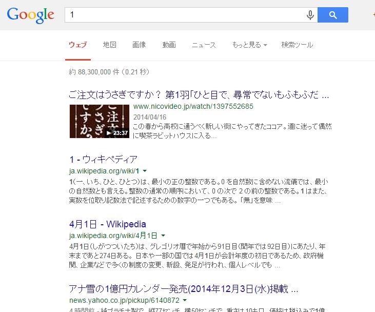 【画像・小ネタ】グーグルで『1』と検索すると1番目に『ご注文はうさぎですか?』がでてくるwwww  他