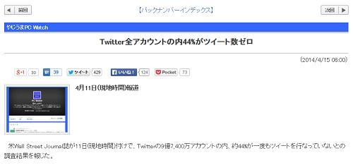 Twitter全アカウントの内44%がツイート数ゼロ